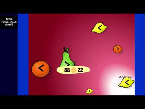 Compare Numbers Fruit Splat - Math Game (gameplay) - Sheppard Software