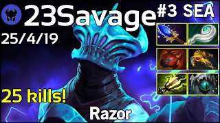 25 kills! 23Savage plays Razor!!! Dota 2 7.21