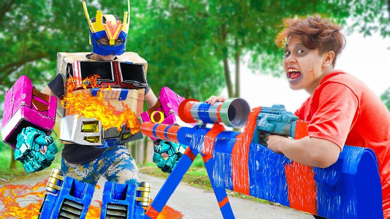 Battle Nerf War: SQUAD MAN Cannon Gun Fight With Zombie Nerf Guns Robot Great War BATTLE NERF