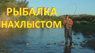Рыбалка нахлыстом на мелкой речке.