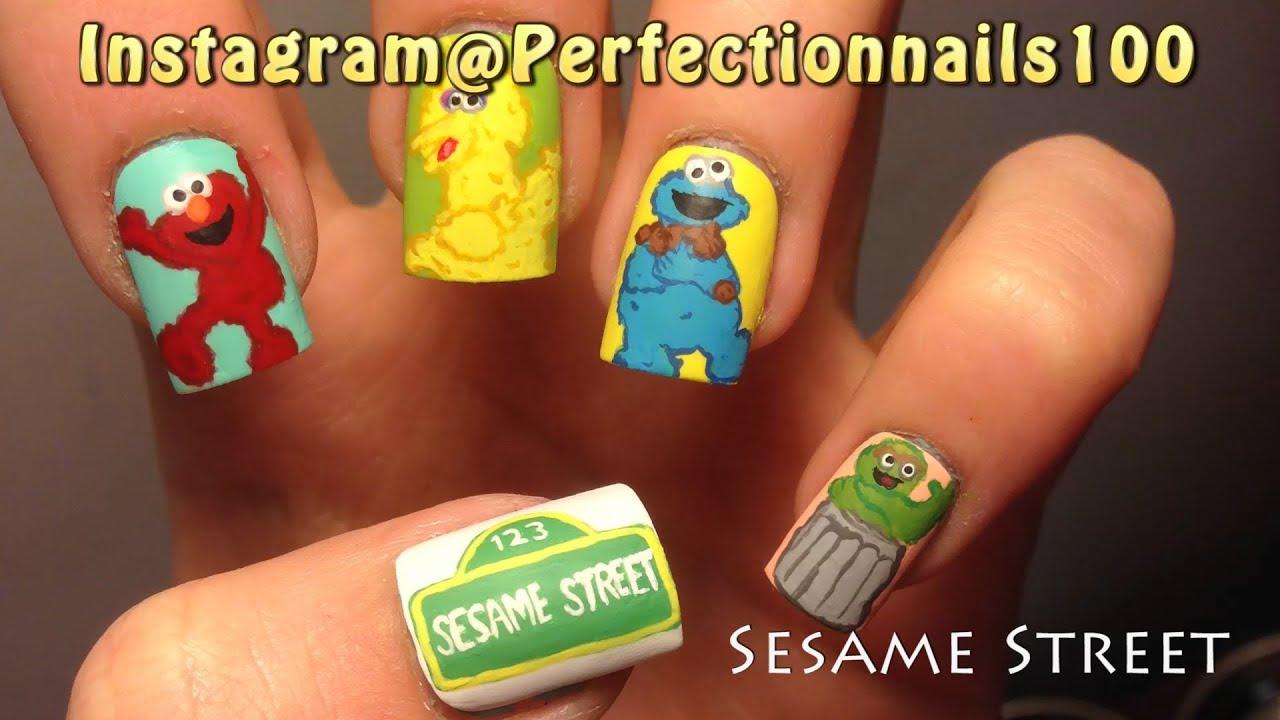Nail Design Sesame Street On Fake Nails Youtube