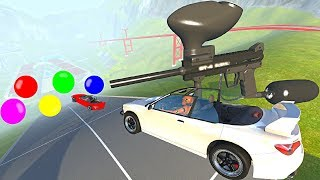 BeamNG.drive - Cars Getting Painted by Giant PAINTBALL Gun