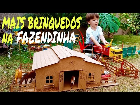 Fazendinha de Brinquedo   Boi Dinossauro Cavalo Vaca Caminhão Estábulo Animais da Fazenda  Toy Farm