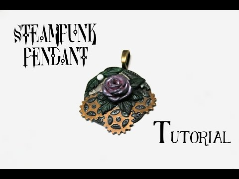 Steampunk Rose Pendant with Polymer Clay and Gears   DIY Fantasy Necklace   Fimo