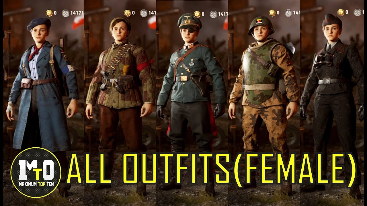 CALL OF DUTY WWII - ALL ALLIES u0026 AXIS OUTFITS (FEMALE MODELS) - RESISTANCE COSTUMES UPDATE  sc 1 st  YouTube & CALL OF DUTY WWII - ALL ALLIES u0026 AXIS OUTFITS (FEMALE MODELS ...