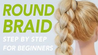 How To 4 Strand Round Braid For Beginners (How to 3D Braid) [CC] | EverydayHairInspiration