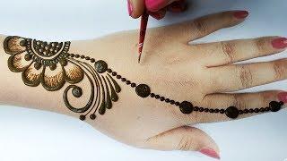 Easy Beautiful Mehndi Design - Stylish Mehndi design for hands step by step -आसान गोल टिक्की मेहँदी