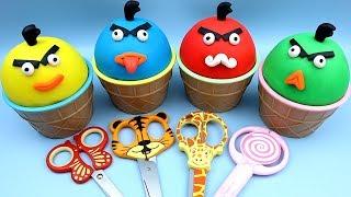 4 Colors Play Doh Ice Cream Cups PJ Masks Chupa Chups Surprise Toys Yowie Angry Birds Kinder Joy