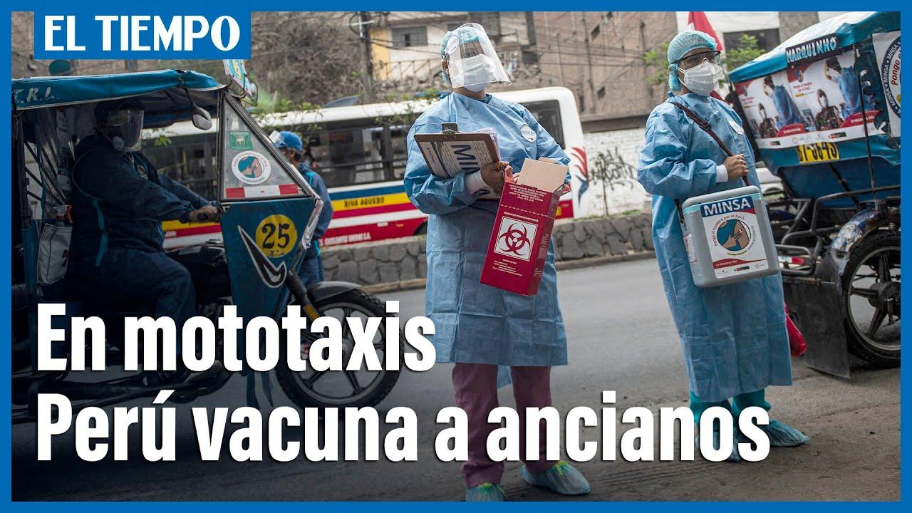 Con mototaxis por los cerros, Perú vacuna a ancianos contra el covid-19