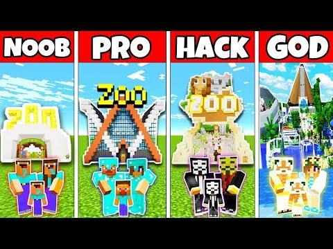 Minecraft: FAMILY ZOO PARK BUILD CHALLENGE - NOOB Vs PRO Vs HACKER Vs GOD In Minecraft