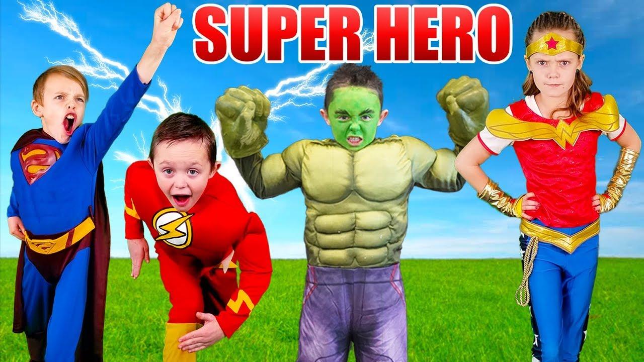 Kids Fun TV Superhero Compilation Video: Shazam, The Flash VS Superman! Superhero Race In Real Life!