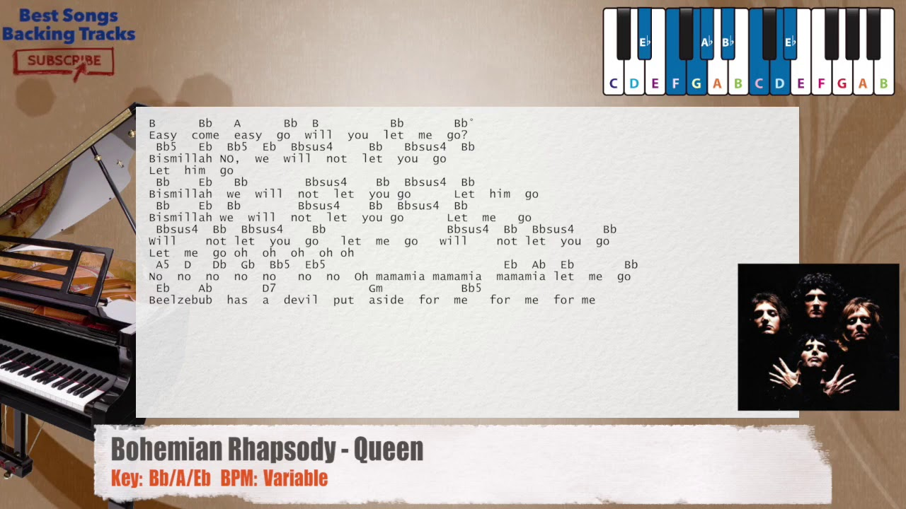 Bohemian Rhapsody - Queen Piano Backing Track with chords and lyrics