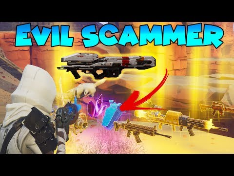 Evil Scammer Nearly Scams 10 LEGENDARY GUNS!! (Scammer Gets Scammed) Fortnite Save The World