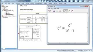 Mann-Whitney U - Effect Size (SPSS)