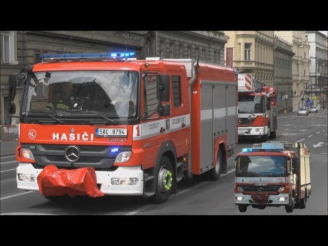 Fire department Prague responding to different calls, Engine 6, 1 and Ladder! #690