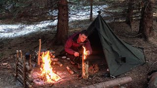 3 Days Solo Wiฑter Survival Camp - Swedish Torch Lavvu Tent Steak Extreme Camping with Dog