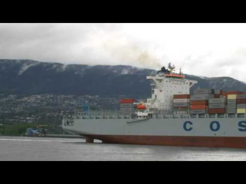 Container Ship COSCO Prince Rupert entering Vancouver Harbour