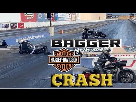 BAGGER DRAG RACE GONE WRONG! HARLEY DAVIDSON BAGGER MOTORCYCLE CRASH AFTER BIG BURNOUT AT NHRA TRACK