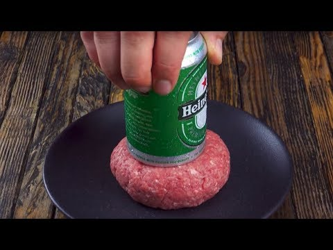 Press A Beer Can Into The Patty, And Then Comes The Finishing Touch!