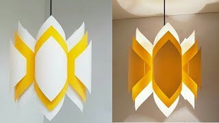DIY paper lamp/lantern/how to make a pendant light out of paper/paper craft/art my passion 45
