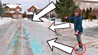 SKATING INSANE ROAD FROZEN ENTIRELY INTO ICE!!! thumbnail