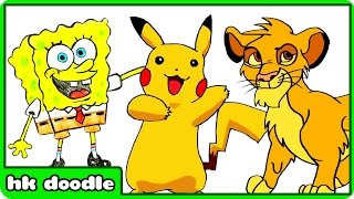 TOP 5 CARTOON DRAWINGS FOR KIDS | Draw Pikachu from Pokemon Go, Simba, Spongebob, Mickey & Olaf
