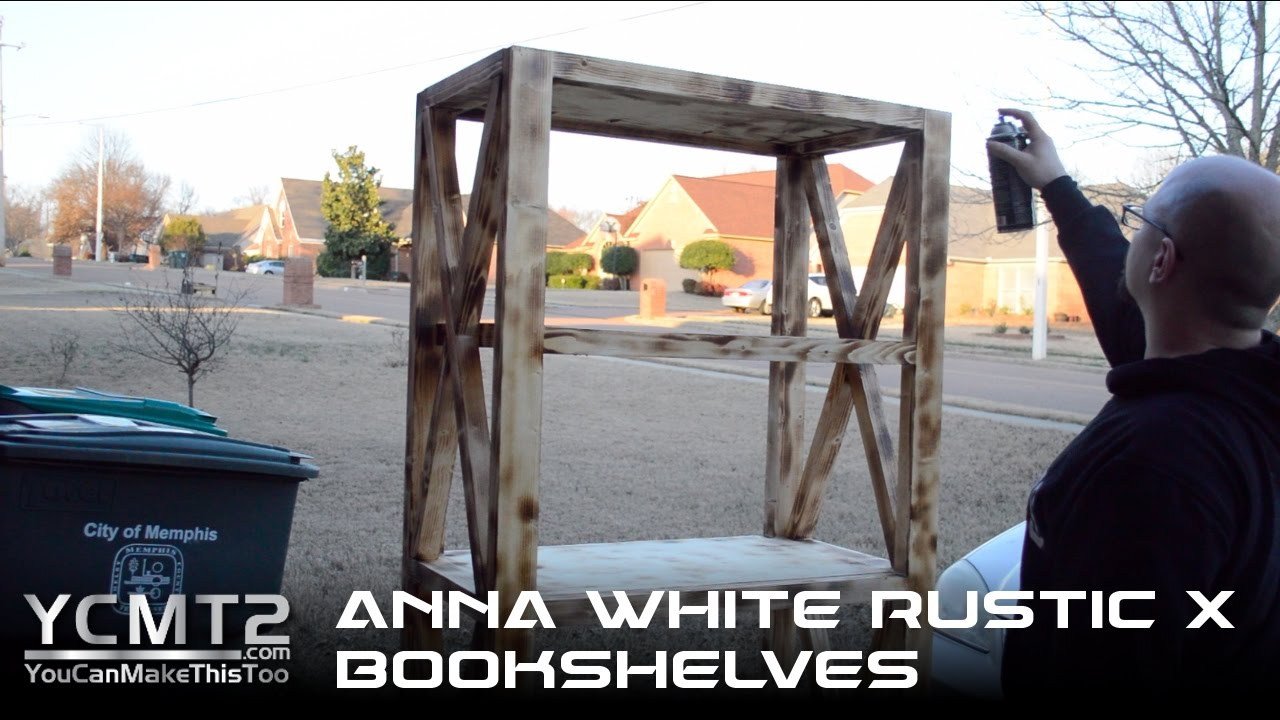 Ana White's DIY Rustic X Bookshelves // How to