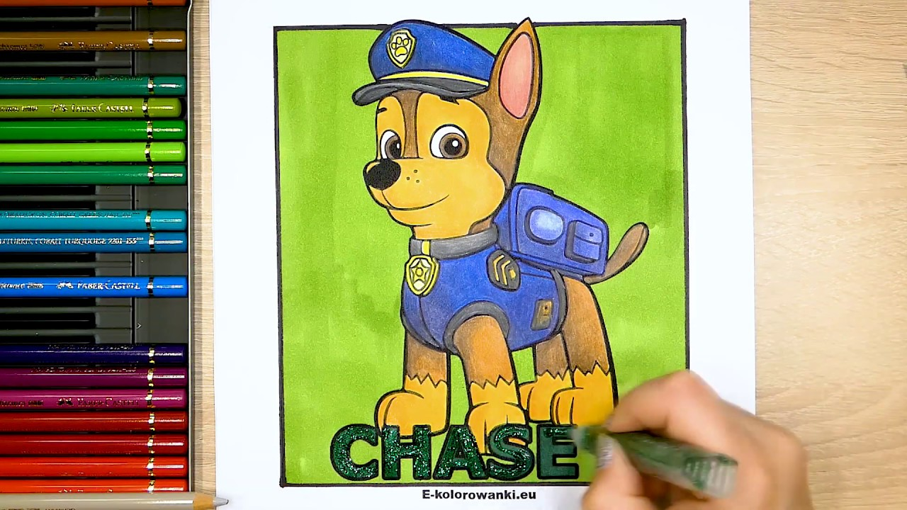 Psi Patrol Kolorowanka Chase Tutorial Kolorowanie Youtube