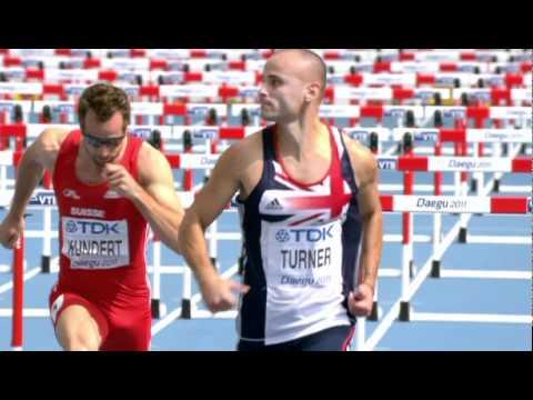 Andy Turner qualifies in the Men's 110m Hurdles Heat 1