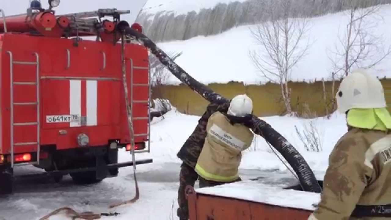 Установка пожарного автомобиля на водоём