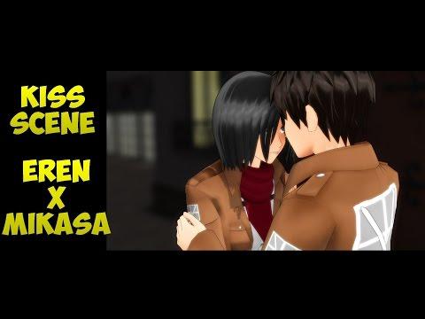"""MMD SNK """"Kiss Scene"""" - Eren X Mikasa - Attack On Titan - Eremika Animation AOT Meme"""