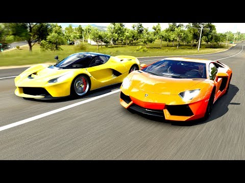 Será que o Bugatti do ZoioGamer vai aguentar minha Lamborghini Aventador? - Forza Horizon 3