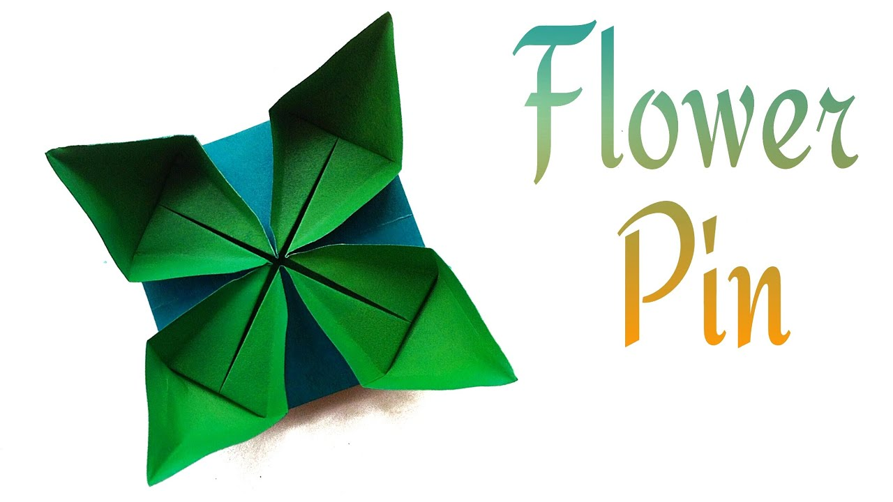 "Origami Paper "" Simple Flower Pin"" - Very easy to make ... - photo#9"