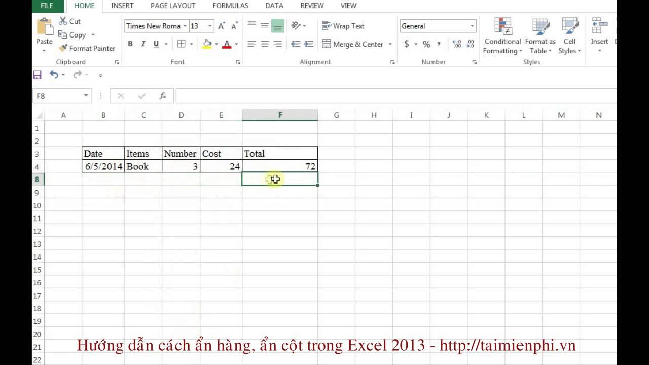 Cách ẩn hàng, ẩn cột trong Excel 2013 - http://taimienphi.vn