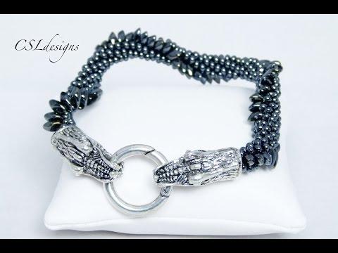 Flying dragon beaded kumihimo bracelet