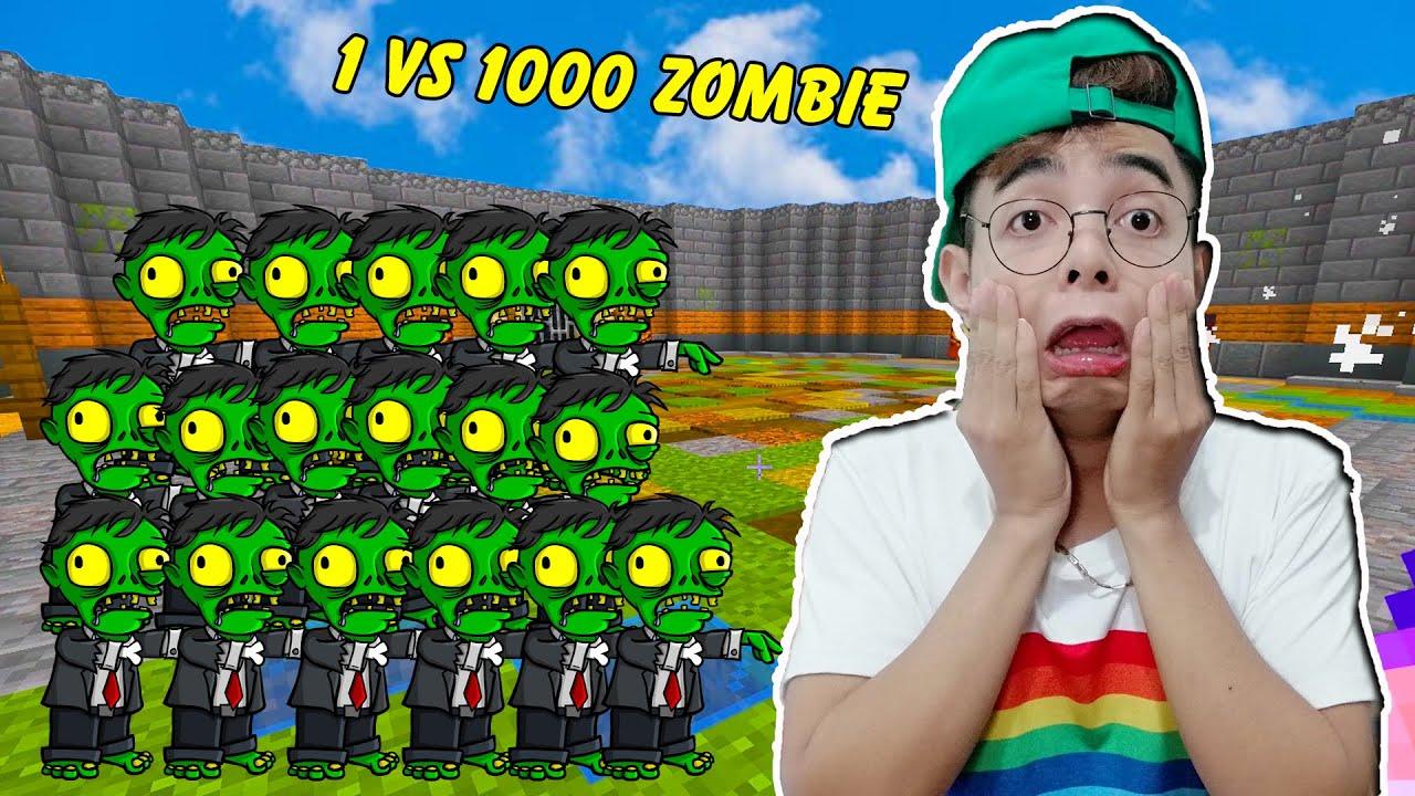 ThắnG Tê Tê Trận Chiến Đấu Trường 1 vs 1000 con Zombie Trong Minecraft