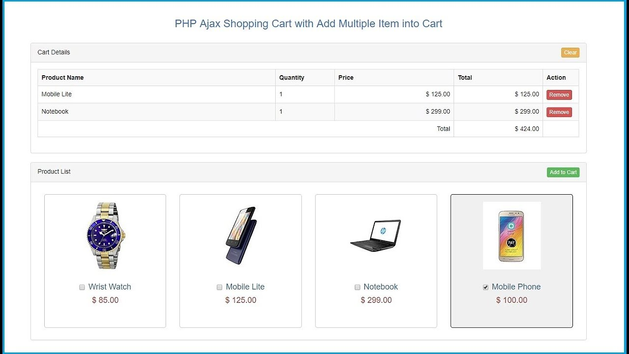 PHP Ajax Shopping Cart with Add Multiple Item into Cart