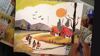 How to draw easy scenery | Speed Painter Rabin Bar