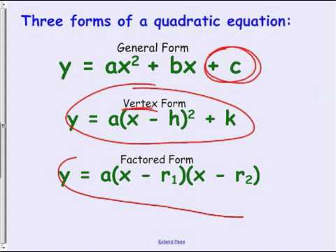 November04 Factored to General and finding the vertex given ...