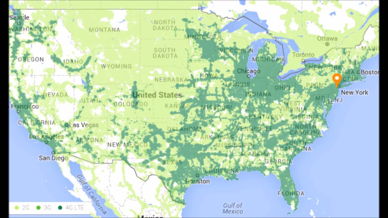 The New Project Fi Coverage Map That Includes Us Cellular Network Youtube
