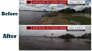 Hurricane Florence : floods New Bern surge, floodwaters, before and after