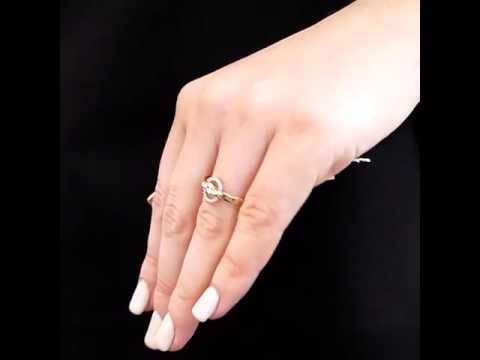 Дизайнерское золотое кольцо с фианитами