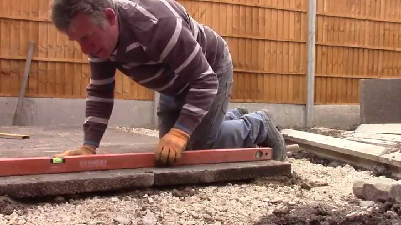 How to lay 3 x 2 slabs for a shed/patio base - YouTube