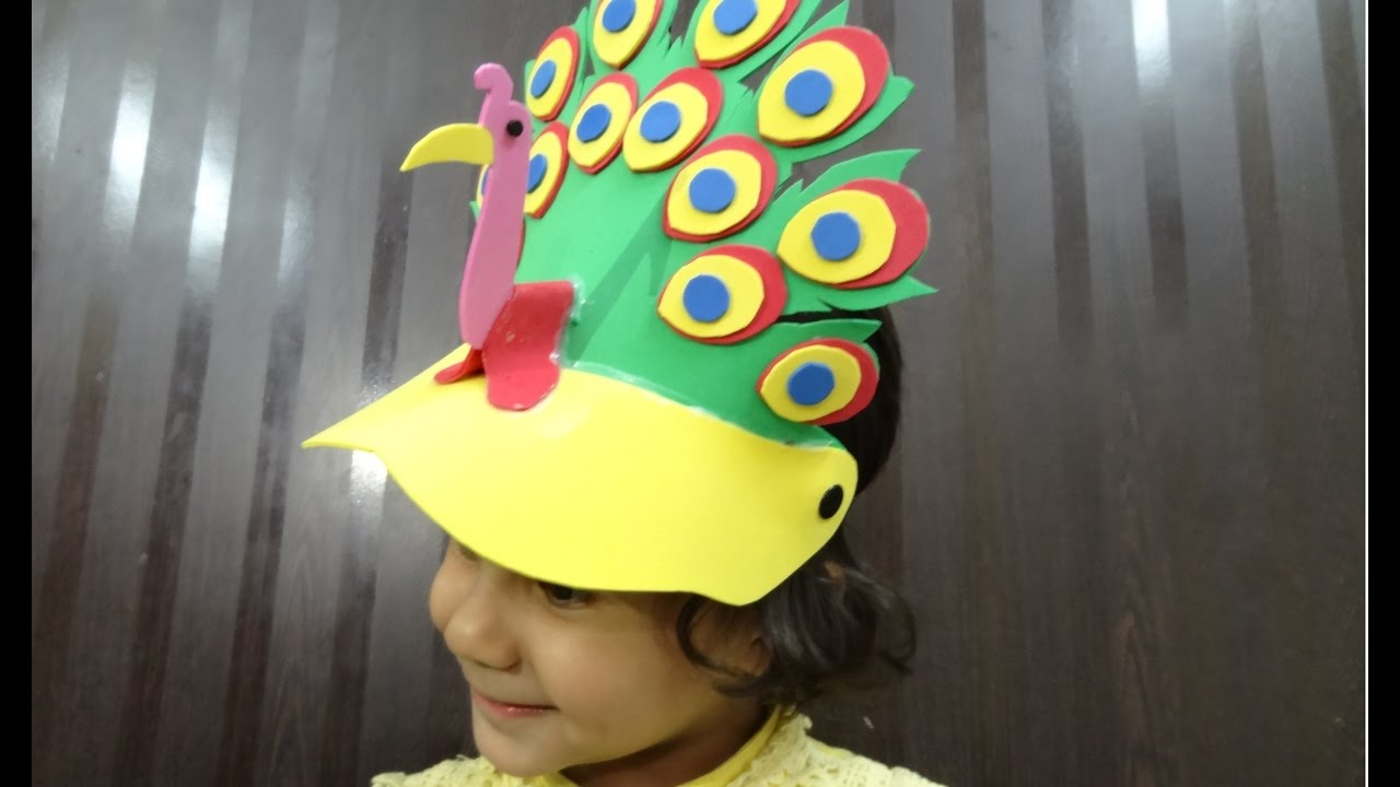 Paper Crafts Foam Crafts Ideas For Kids Foam Peacock Cap Youtube