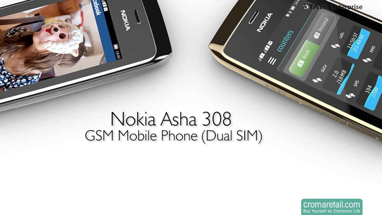 Nokia Asha 308 GSM Mobile Phone (Dual SIM)