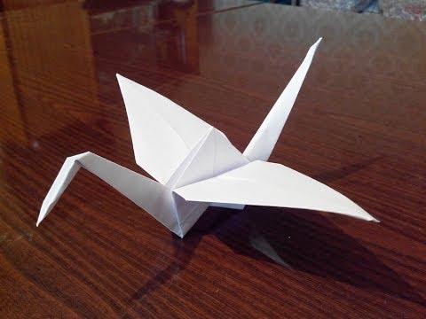Как сделать оригами журавля, origami crane