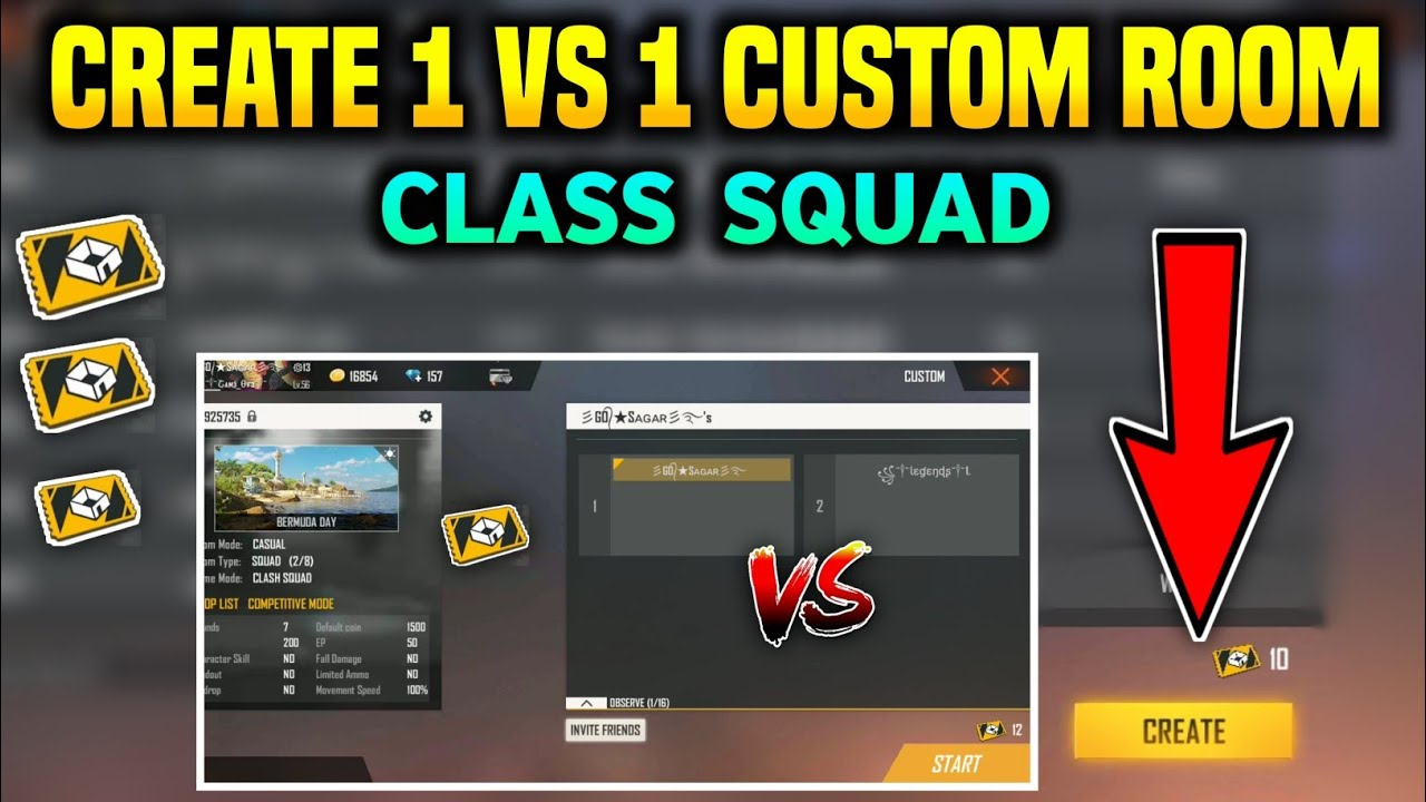 How To Create 1 vs 1 Custom Room In Free Fire Class Squad || Create 1 vs 1 Custom Room In Free Fire