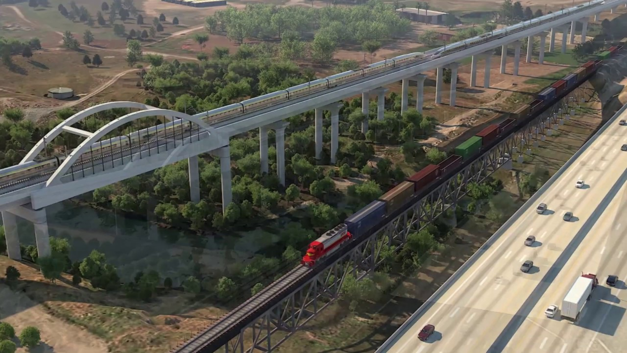 An animated rendering of a high-speed rail train passing over the San Joaquin River Viaduct in North Fresno.