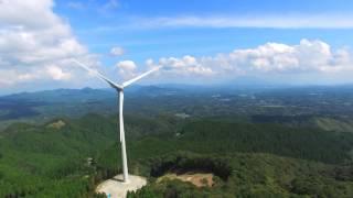 Kagoshima, Japan Flying Drone near Wind turbines