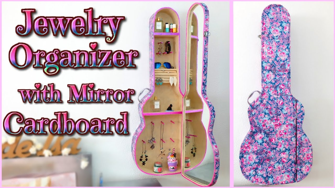 DIY ROOM DECOR jewelry ORGANIZER cabinet with mirror GUITAR CASE